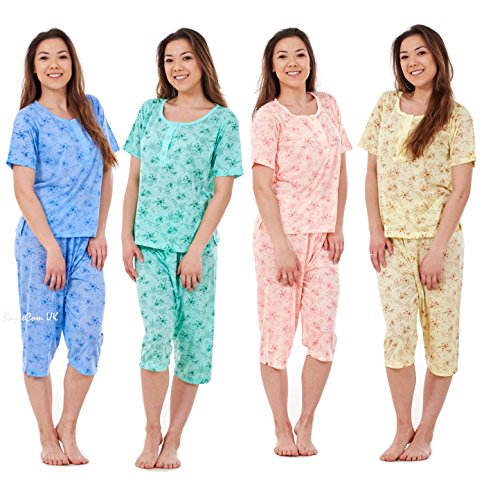 Ladies Pyjama Set 3-4 Length Short Sleeve Floral Button Nightwear Soft PJs S-XXL - 51Vi1kXX12L - Ladies Pyjama Set 3-4 Length Short Sleeve Floral Button Nightwear Soft PJs S-XXL