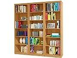 Bücherregale, Bibliotheksregale METEORA Kiefer massiv in gebeizt geölt (3 Regal, 222 x 34 x 219 cm)