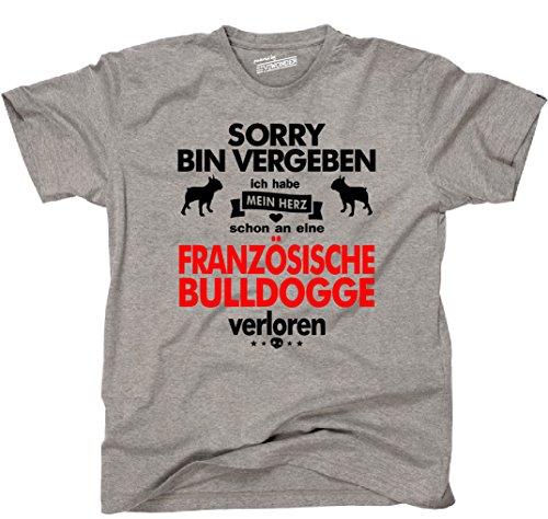 Siviwonder Unisex T-Shirt FRANZÖSISCHE BULLDOGGE Herz verloren Hund Hunde fun sports grey - rot