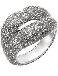 Solange Azagury-Partridge Anillo de Mujer HOTLIPS Glitters Silver Shimmy