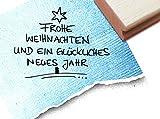 STEMPEL - x 16 1 - FROHE WEIHNACHTEN und ein GLÜCKLICHES NEUES JAHR - Weihnachtsstempel handschriftlich als Weihnachtsbaum mit STERN - 2 GROESSEN zur Auswahl - zAcheR-fineT