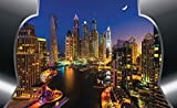 FORWALL etiqueta pantalla lavable Dubai–Papel pintado fotográfico Rascacielos de noche amf20092_ txven pared vinilo decorativo pared, tejido, Bunt,grau,blau, T4 (254cm. x 184cm.)