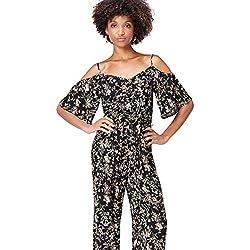 find. Floral Cold Shoulder Combinaison Femme, Noir (Black Mix), 36 (Taille Fabricant: X-Small)