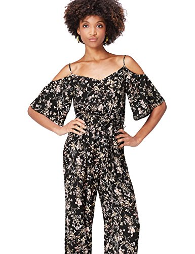 FIND Jumpsuit Damen, Off-Shoulder, Blumenmuster, Schwarz - 55,00 €