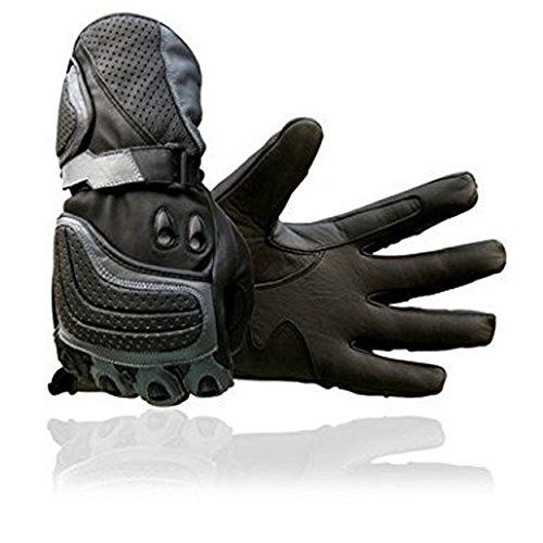 Juicy Trendz New Rindsleder Motorrad Grau Leder Motorrad-Handschuhe Motorcycle Gloves schwarz Large