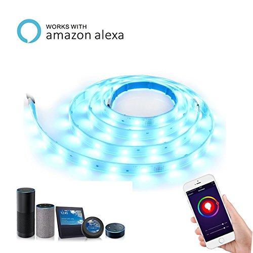 ALEXFIRST LED Streifen Wlan LightStrip+ Basis Set, flexibel erweiterbar, dimmbar , bis zu 16 Millionen Farben, steuerbar via App, kompatibel mit Amazon Alexa (Echo, Echo Dot), 2m, mehrfarbig