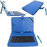 DURAGADGET Funda / Teclado QWERTY ESPAÑOL Azul Para Asus ZenPad 10 (Z3000CG) - Con Letra Ñ - Conexión MicroUSB + Lápiz Stylus