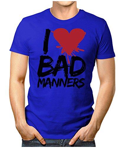 PRILANO Herren Fun T-Shirt - I-LOVE-BAD-MANNERS - Small bis 5XL - NEU Blau