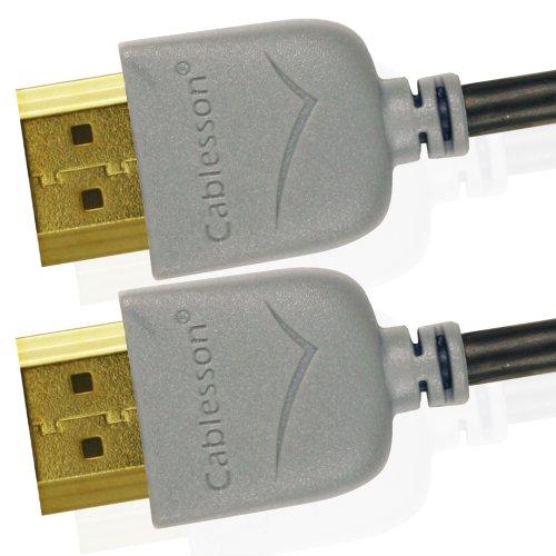 Cablesson Ivuna Slim Flex 3m High Speed HDMI Kabel (HDMI Typ A, HDMI 2.1/2.0b/2.0a/2.0/1.4) - 4K, 3D, UHD, ARC, Full HD, Ultra HD, 2160p, HDR - **Ultra Slim Design** - grau 1080p Ultra Slim Led