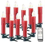 Lunartec LED Weihnachtsbaumkerzen: Funk-Weihnachtsbaum-LED-Kerzen mit Fernbedienung, 10er-Set, rot (Weihnachtsbau-Kerzen)