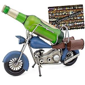 """BRUBAKER Portabottiglie dal design""""Motorcycle"""" - Nostalgia Vintage scultura - Dipinte a mano - Con biglietto di auguri"""