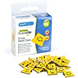 Rapesco supaclip - Caja de 100 supaclips de repuesto con emojis, hasta 40 hojas, color amarillo