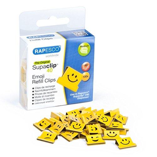 Rapesco 1335 Supaclip 40 Blatt Nachfüllklammern 100 Stück Emojis Gelb