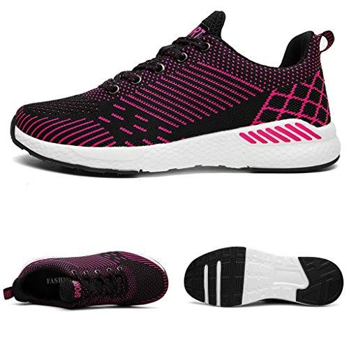 xiduoduo Herren Damen Freizeitschuhe Atmungsaktiv Laufschuhe Turnschuhe Sommer Sportschuhe Sneakers 35-48 Rose rot1