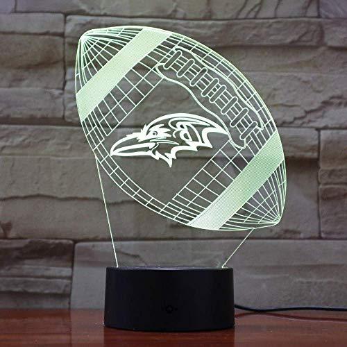 Baltimore Raven Rugby 3D Lava Lampen Kreative 7 Farbwechselel LED Nachtlicht Stimme Dekor Geschenk Schlafzimmer Tischlampe (Baltimore Ravens Dekorationen)