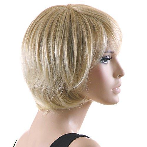 Songmics Neu Perücke Haar Wigs Weiblich Blond leicht Gewellt Kurz für Karneval Cosplay Halloween (Perücken Männlich Blonde)