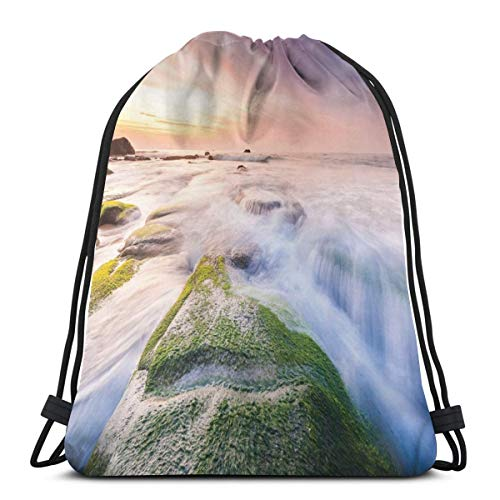 Nisdsgd Drawstring Shoulder Backpack Travel Daypack Gym Bag Sport Yoga, Malaysia Landmark Nature Wonders Photo of Fountains Stream Mossy Rocks with Ombre Sky,5 Liter Capacity,Adjustable. -
