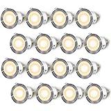 Lot de 16 Spots LED Encastrable pour Terrasse Bois, Etanche IP67, Spots à Encastrer Extérieur, 0,6W DC12V, Lumière Blanc Chau