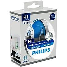 Philips WhiteVision 12258WHVSM - Bombilla Para Faros Delanteros (Efecto Xenon H1), Pack 2 Unidades