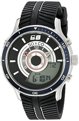 So y de Nueva York Monticello Co para hombre reloj infantil de cuarzo con esfera negra analógico - pantalla Digital y negro correa de goma 5035,1