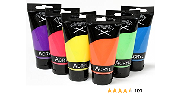 Magi Neon Paint Set Fluorescent With 6 X 75 Ml Acrylic Paint In Neon Yellow Green Orange Pink Blue And Purple Küche Haushalt