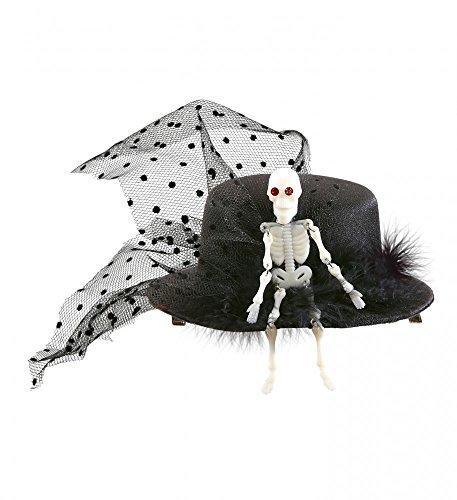 shoperama Mini-Zylinder mit Skelett und Schleier Schwarz Damen-Hut Hütchen Halloween Kostüm-Zubehör