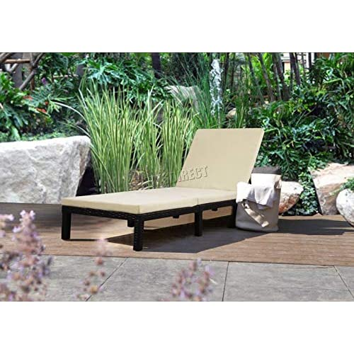 51ViBCNxdIL. SS500  - WestWood Rattan Day Chair Recliner Sun Bed Lounger Wicker Outdoor Garden Furniture Terrace Patio Cream SRL02