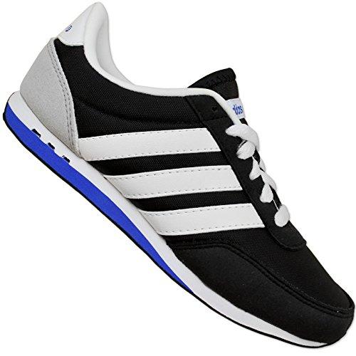 Adidas NEO LABEL V Racer Nylon Scarpe per bambini Sneaker ragazzo Nero Bianco Nero