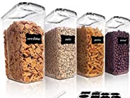 Insiya Cereal Storage Container Set, BPA Free Plastic Airtight Food Storage Containers with Easy Lock Lids, fo