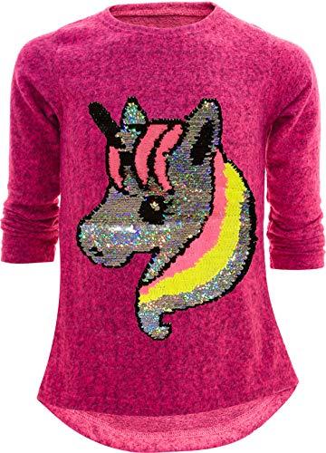 Einhorn Unicorn Pferd Mädchen Kinder Sweatshirt Pullover Wendepailletten Glitzer Bluse Langshirt Pulli (140-146, Einhorn 1 Pink1)