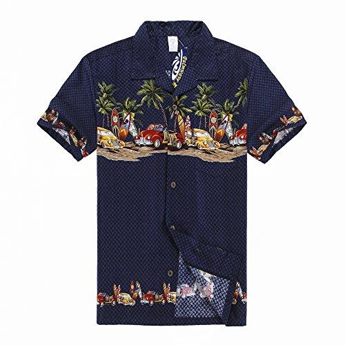 Hombres Aloha camisa hawaiana en Coches antiguos Palmeras Tablas de su