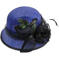 Peng sounded Moda Summer Blue Beach Sombrero de Visera Sombrero de Bola de Banquete Sombrero de Lino de Colores Lisos.