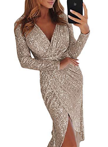 70d0acd3d522 Aleumdr Vestiti Donna Scollo a V Abito Donna Elegante Design Paillette  Vestito da Cocktail Donna Irregolare
