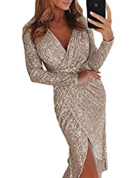 FIYOTE Womens Sexy V-Neck Long Sleeve Sequins Wrap Bodycon Midi Party Dress 0502d5aa23bb