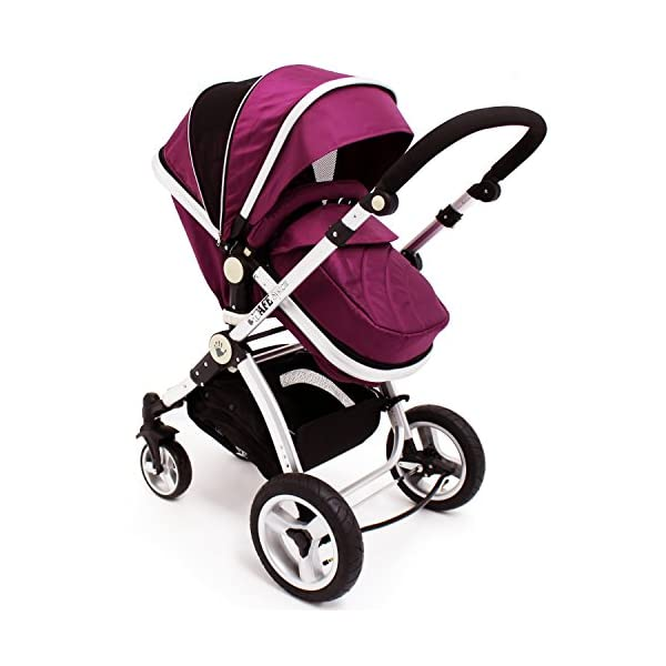 iSafe Trio Pram Stroller 2in1 - Plum (Purple) iSafe 2 in 1 Stroller / Pram Extremely Easy Conversion To A Full Size Carrycot For Unrivalled Comfort Complete With Boot Cover, Luxury Liner, 5 Point Harness, Raincover, Shopping Basket With Closed Ziped Top High Quality Rubber Inflatable Wheels With The Full All around Soft Suspension For That Perfect Unrivalled Ride 3