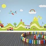 Walplus Adhesivos de pared TRANSPORTE COCHES Y Hills Niño niña cuarto del Bebé Infantil Arte Mural VINILO DECORACIÓN HOGAR BRICOLAJE Living Dormitorio Decor papel pintado 120x180 cm, Multicolor