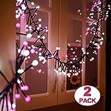 GlobaLink 2Pack 3M Weihnachtsbeleuchtung Lichterketten 400 LED Dekobeleuchtung Niederspannung außen/innen Stimmungslicht für Haus Garten Party Hochzeit Geburtstag (Rosa und weiß)