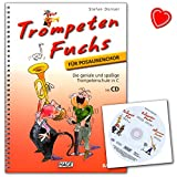 Trompeten Fuchs Band 1, Ausgabe in C für Posaunenchor - Lehrbuch von Stefan Dünser mit CD und bunter herzförmiger Notenklammer - Hage Verlag - EH3804 - 4026929915610
