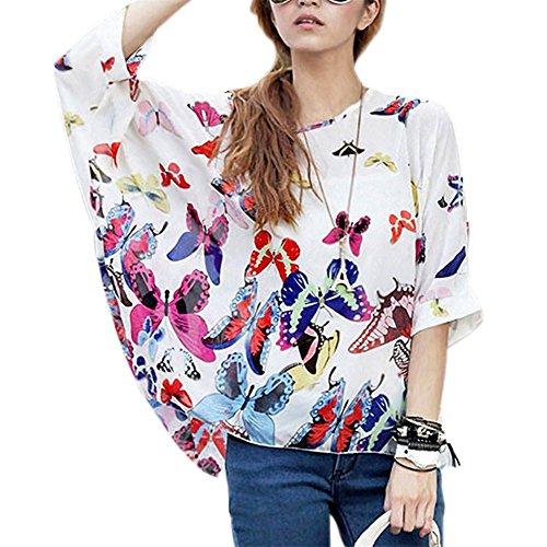 Jltph boemia hhippie donna t-shirt blusa in mussola di seta batwing maniche camicia hippie 3/4tops couleur 26 taglia unica