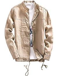 EOZY Blouson Homme Lin Col Mao Jacket Manche Longue Veste Casual Été