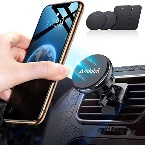 andobil Handyhalter fürs Auto Magnet Auto handyhalterung Upgrade 6 Superstark Magnete und 4 Metallplatten Lüftung KFZ Handyhalter 360° Drehbar für iPhone 11 11 Pro Samsung Galaxy Note10 S10 Huawei Usw