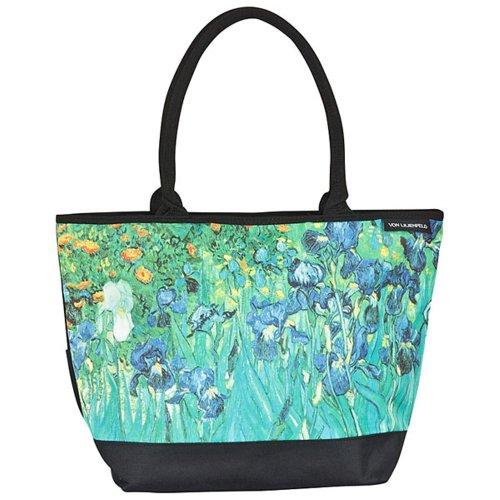 VON LILIENFELD Tasche Damen Handtasche Shopper Henkeltasche bedruckt mit Motiv Kunst Design Blumen-Motiv Vincent van Gogh Iris (Iris Kunst)