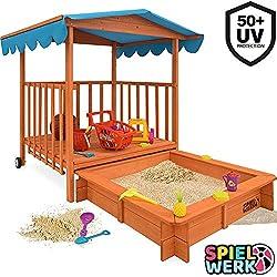 Spielwerk Bac à Sable Bois Massif Toit Bleu Pare Soleil 225x130x143cm Protection UV50 véranda Jeu cabane Enfant Jardin 2 Roues