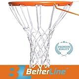 Better Line - Rete da basket premium, di qualità professionale, robusta e per tutte le condizioni atmosferiche (12anelli), White