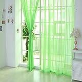 Notdark 1 Stück Transparente Einfarbige Vorhang Gardine Sheer aus Voile, Viele Attraktive Farben, 200x100 (200cm x 100cm, Grün)