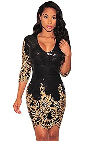 New Damen schwarz Victorian Gold Pailletten 3/4Ärmel Figurbetontes Kleid Club Wear Abend Party Cocktail Cruise Kleid Größe L UK 12EU 40