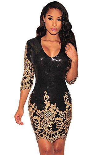 New Damen schwarz Victorian Gold Pailletten 3/4Ärmel Figurbetontes Kleid Club Wear Abend Party Cocktail Cruise Kleid Größe L UK 12EU 40 (Party Cruise-kleid)