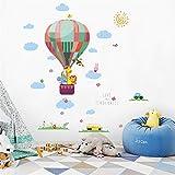 Sencillo Vida Globo Aerostático Pegatinas de Pared para Habitaciones de Niños Dormitorio Sala de Estar Decoración del Hogar, Grass Hot Air Balloon Small Animal Wall Sticker