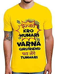 Ghantababajika Ijjat Girlfriend Round Neck Half Sleeves Printed Quotation T-shirt For Men`s