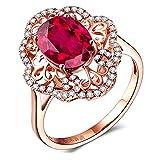 Daesar Damen 18K Rotgold Ringe Verlobung Blume 1 Ct Rubin mit Diamant Hochzeitsring Rosegold Partnerringe Größe 52 (16.6)